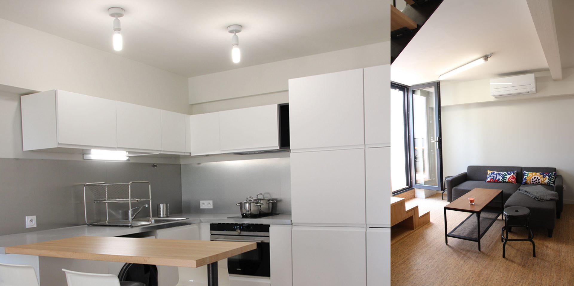 Aménagement de duplex pour du locatif duplex 2 cuisine salon