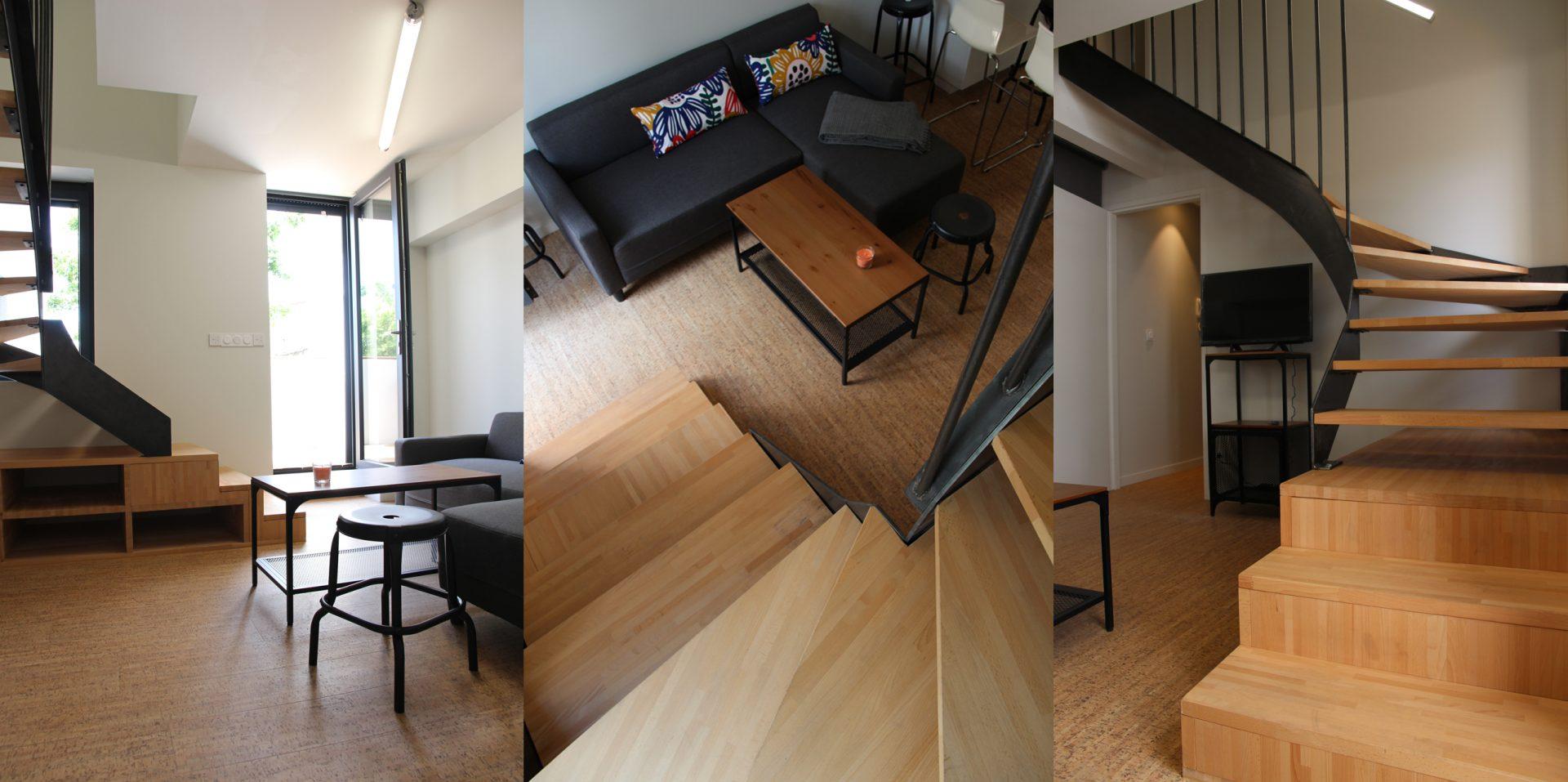 Aménagement de duplex pour du locatif duplex 2 salon escalier