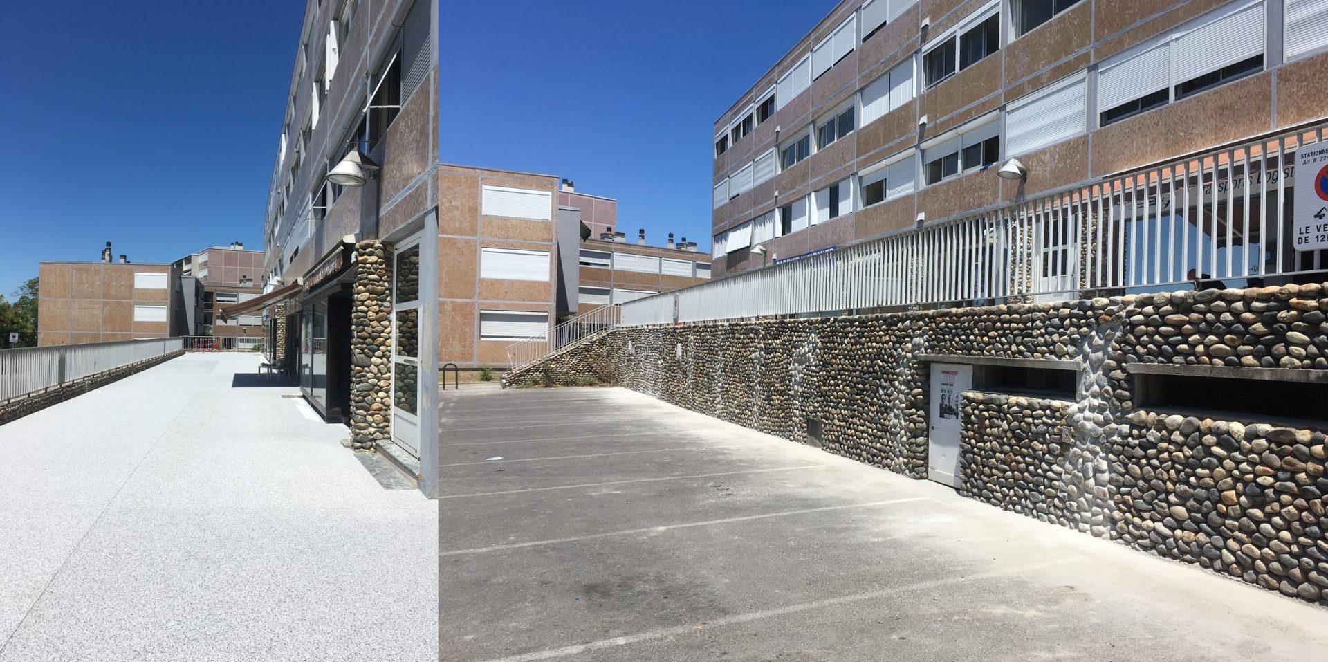 Refextion du Parvis du centre commercial - Résidence du Chateau d'Ancely 2